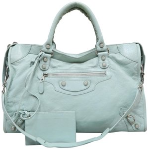 Balenciaga Calfskin Motocross Classic Part-time Satchel in PaleTurquoise