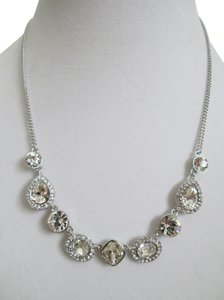 Givenchy Clear Swarovski Crystal Cluster Charm Chain Silver Station Necklace