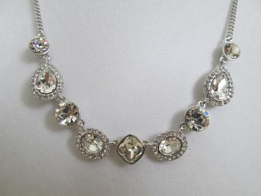 Givenchy Clear Swarovski Crystal Cluster Charm Chain Silver Station Necklace Image 1