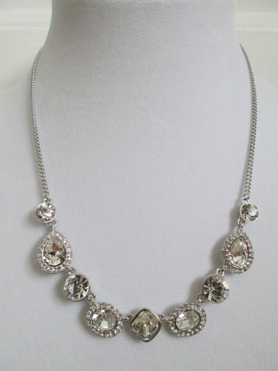 Givenchy Clear Swarovski Crystal Cluster Charm Chain Silver Station Necklace Image 10
