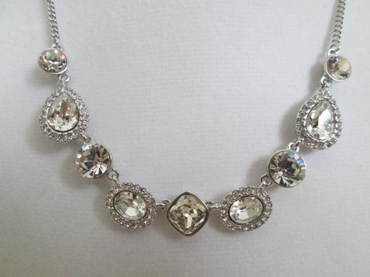 Givenchy Clear Swarovski Crystal Cluster Charm Chain Silver Station Necklace Image 11