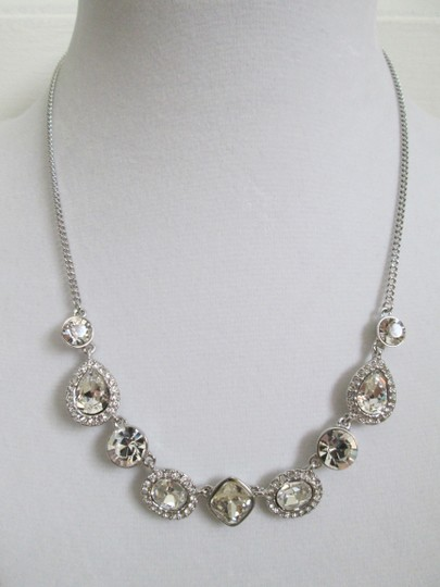 Givenchy Clear Swarovski Crystal Cluster Charm Chain Silver Station Necklace Image 2