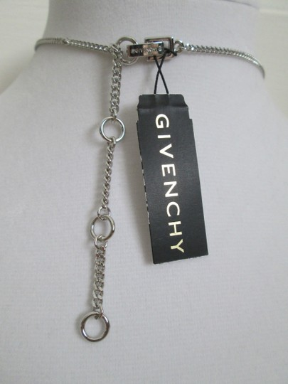 Givenchy Clear Swarovski Crystal Cluster Charm Chain Silver Station Necklace Image 3