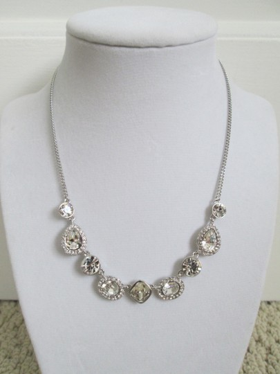 Givenchy Clear Swarovski Crystal Cluster Charm Chain Silver Station Necklace Image 4