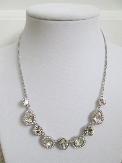 Givenchy Clear Swarovski Crystal Cluster Charm Chain Silver Station Necklace Image 5