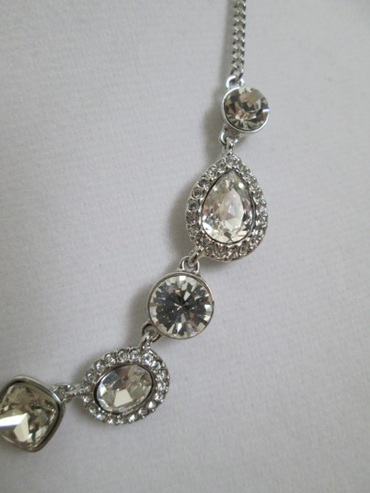 Givenchy Clear Swarovski Crystal Cluster Charm Chain Silver Station Necklace Image 6