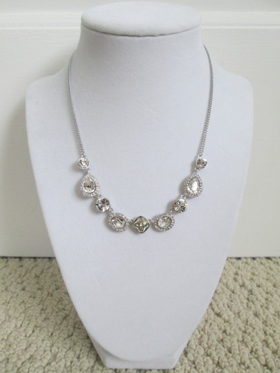Givenchy Clear Swarovski Crystal Cluster Charm Chain Silver Station Necklace Image 7
