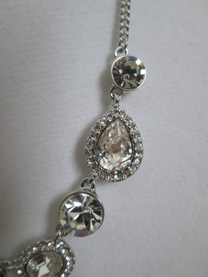 Givenchy Clear Swarovski Crystal Cluster Charm Chain Silver Station Necklace Image 8
