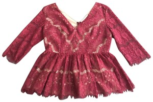 Anthropologie Maeve Holiday Peplum Lace Top Red