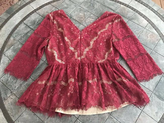 Anthropologie Maeve Holiday Peplum Lace Top Red Image 5