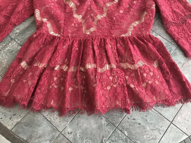 Anthropologie Maeve Holiday Peplum Lace Top Red Image 6