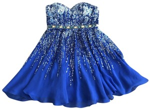 Sherri Hill Silk Sequin Beaded Strapless Dress