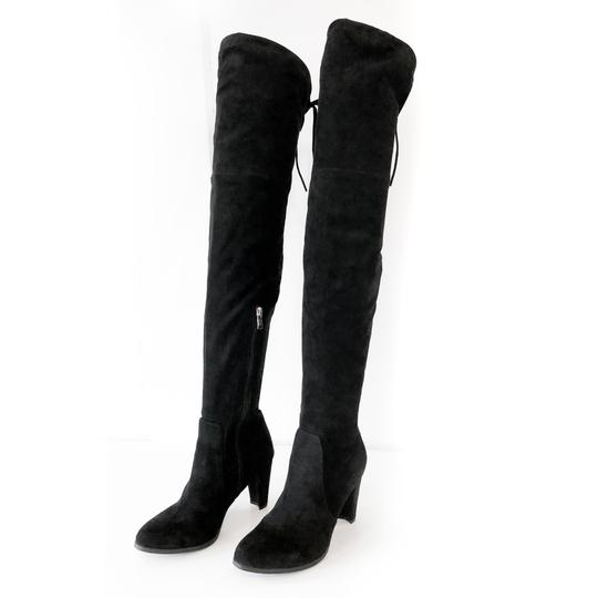 Catherine Malandrino Over The Knee Flattering Stretchy Leg Thigh High Soft Suede Black Boots Image 1