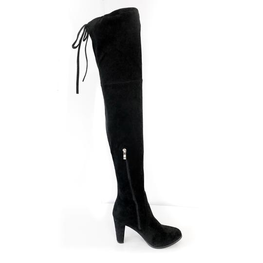 Catherine Malandrino Over The Knee Flattering Stretchy Leg Thigh High Soft Suede Black Boots Image 3