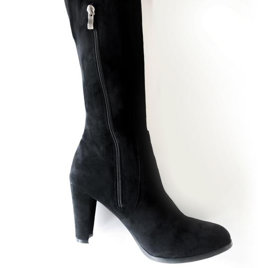 Catherine Malandrino Over The Knee Flattering Stretchy Leg Thigh High Soft Suede Black Boots Image 4