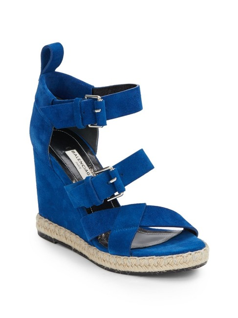 Item - Blue Rope Track Suede Sandals Wedges Size EU 37 (Approx. US 7) Wide (C, D)