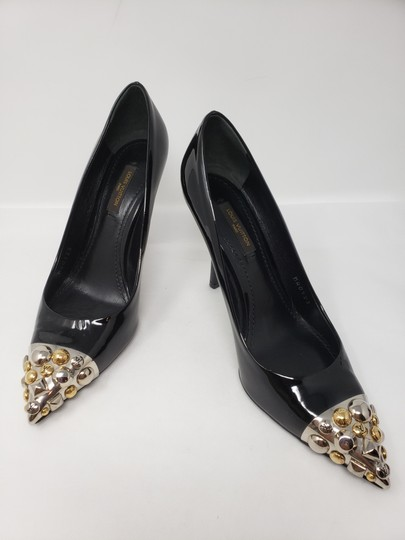 Louis Vuitton Gold Hardware Oh Really Lv Silver Hardware Studded Black Pumps Image 2