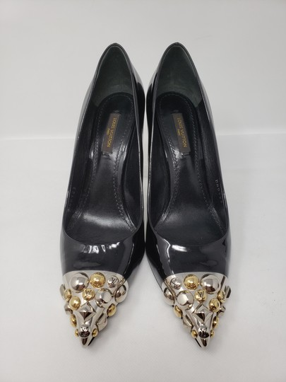 Louis Vuitton Gold Hardware Oh Really Lv Silver Hardware Studded Black Pumps Image 5