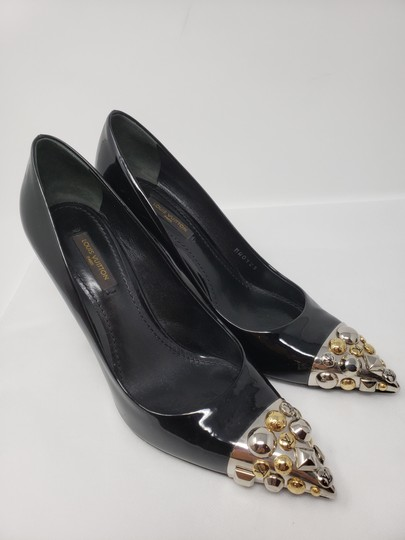 Louis Vuitton Gold Hardware Oh Really Lv Silver Hardware Studded Black Pumps Image 6