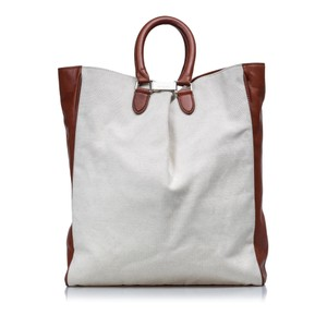 Margiela 9dmlto001 Vintage Canvas Leather Tote in White