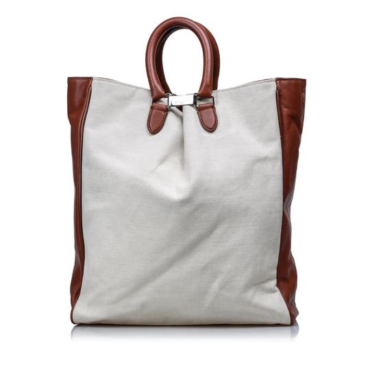 Margiela 9dmlto001 Vintage Canvas Leather Tote in White Image 2