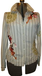 Johnny Was Embroidered Studded Fitted Onm001 Button Down Shirt white multi pin stripe