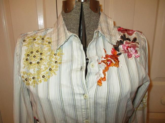 Johnny Was Embroidered Studded Fitted Onm001 Button Down Shirt white multi pin stripe Image 1