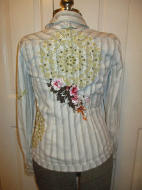 Johnny Was Embroidered Studded Fitted Onm001 Button Down Shirt white multi pin stripe Image 4