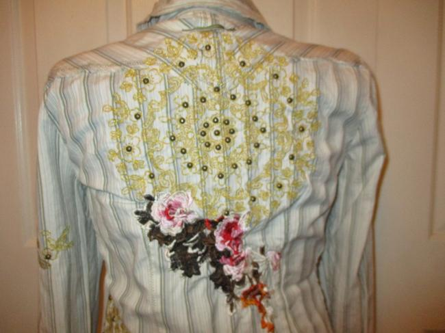 Johnny Was Embroidered Studded Fitted Onm001 Button Down Shirt white multi pin stripe Image 5