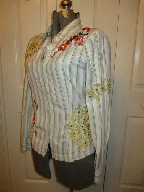 Johnny Was Embroidered Studded Fitted Onm001 Button Down Shirt white multi pin stripe Image 6