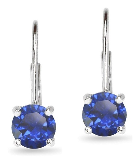 Other BLUE SAPPHIRE ROUND LEVERBACK EARRINGS Image 5
