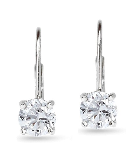 Other WHITE SAPPHIRE ROUND LEVERBACK EARRINGS Image 3