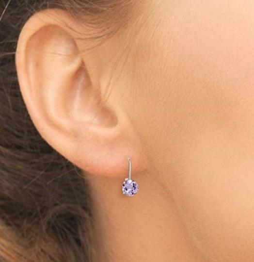 Other WHITE SAPPHIRE ROUND LEVERBACK EARRINGS Image 4
