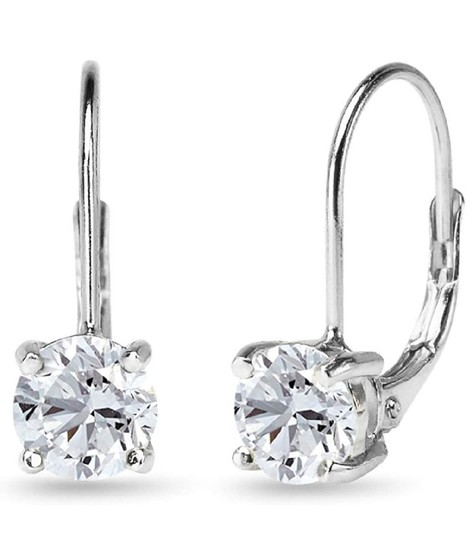 Other WHITE SAPPHIRE ROUND LEVERBACK EARRINGS Image 5
