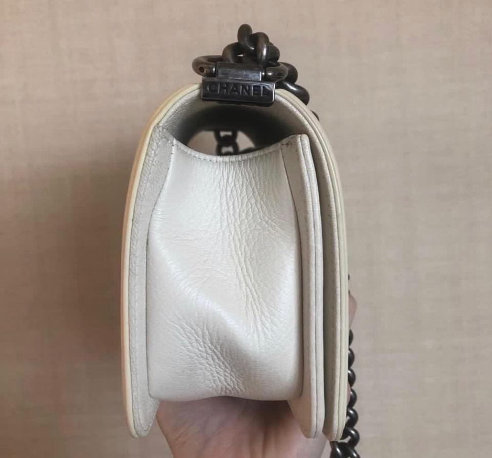 820f1f3d894f31 Chanel Classic Flap Boy Small White Calfskin Leather Cross Body Bag ...