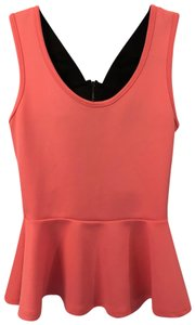 Charlotte Russe Peplum Top Coral and Black