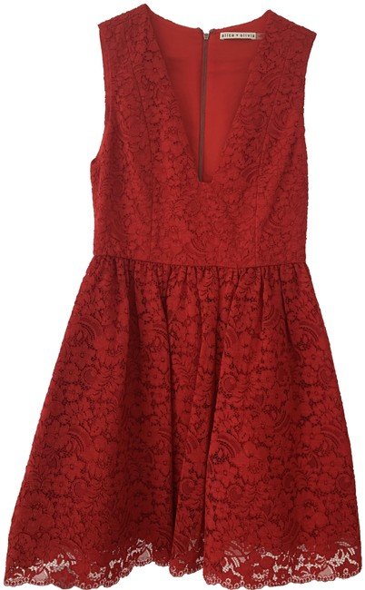 Preload https://img-static.tradesy.com/item/25434304/alice-olivia-red-clora-tiered-corded-lace-mini-short-cocktail-dress-size-2-xs-0-1-650-650.jpg