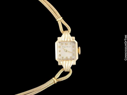 Cartier 1940's Cartier Vintage Classic Ladies Handwound Watch - 14K Gold Image 2