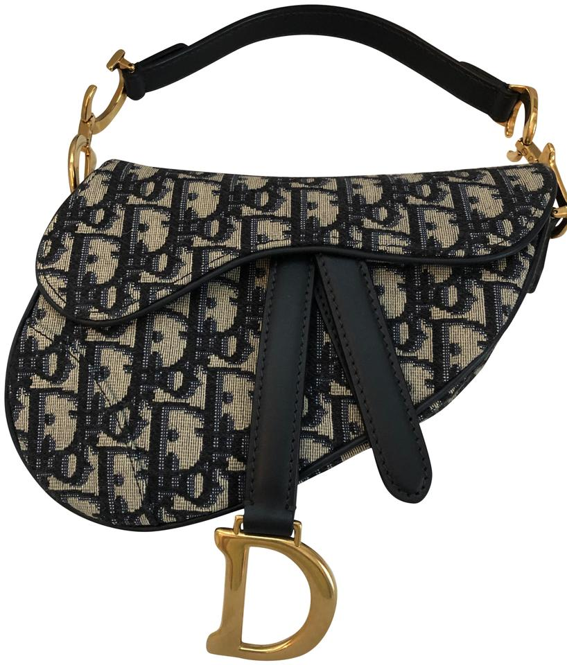 e582a0d7abb Dior Mini Saddle New Navy Canvas and Leather Baguette - Tradesy