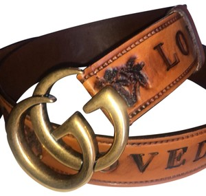 Gucci Gucci Double G Brown Palm Loved Belt