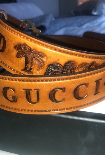 Gucci Gucci Double G Brown Palm Loved Belt Image 1