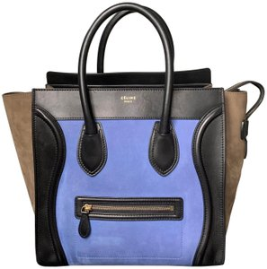 Céline Tricolor Luggage Mini Luggage Mini Tricolor Mini Tote in Multicolor Blue Taupe Suede and