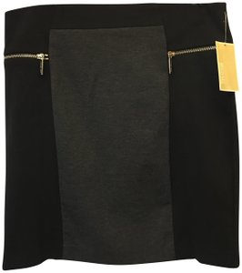 Michael Kors Chrome Logo Zippers Size 10 M Medium New With Tags Skirt Black and Grey