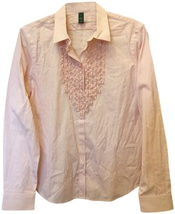 Lauren Ralph Lauren & Stripe Ruffle Size Pl Petite Large New With Tags Top Pink and White