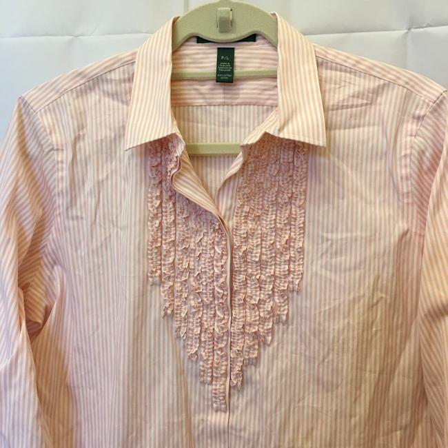 Lauren Ralph Lauren & Stripe Ruffle Size Pl Petite Large New With Tags Top Pink and White Image 1