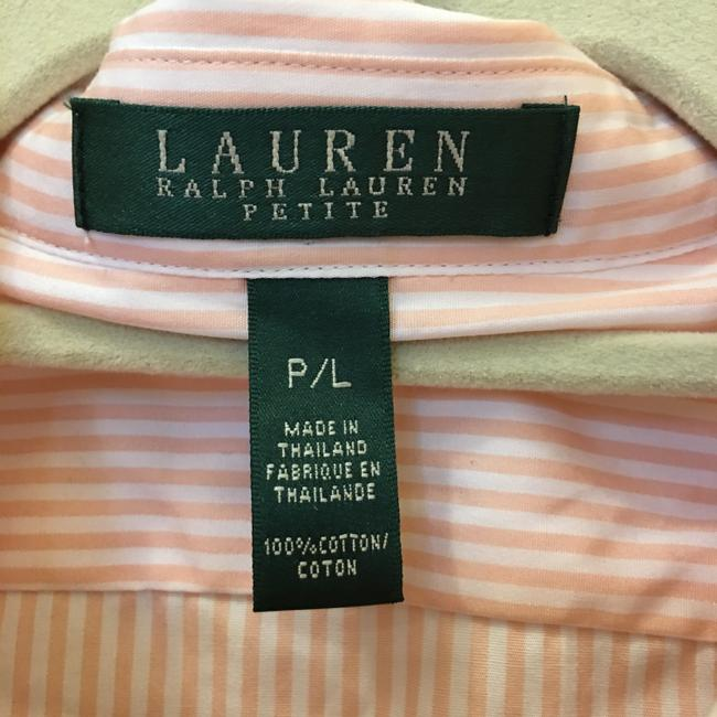 Lauren Ralph Lauren & Stripe Ruffle Size Pl Petite Large New With Tags Top Pink and White Image 2