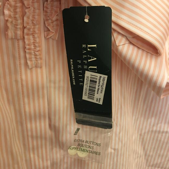 Lauren Ralph Lauren & Stripe Ruffle Size Pl Petite Large New With Tags Top Pink and White Image 3