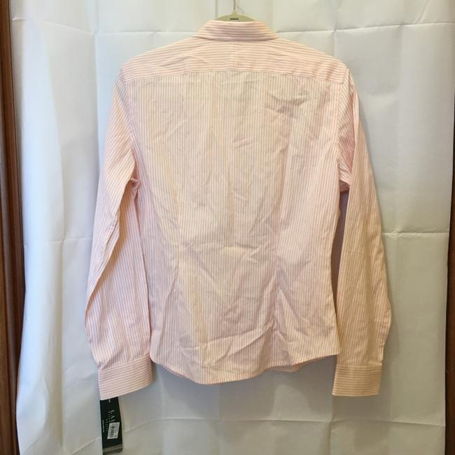Lauren Ralph Lauren & Stripe Ruffle Size Pl Petite Large New With Tags Top Pink and White Image 8