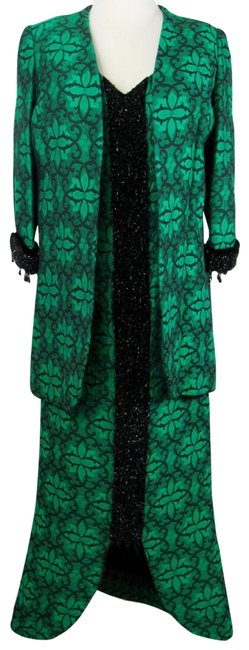 Green Amp Black Vintage 1950s Matching Jacket Beaded