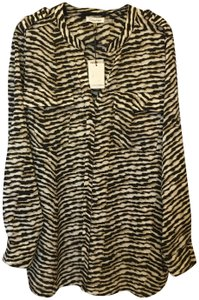 Calvin Klein Animal Print Sleeve Straps Plus Size 2x New With Tags Top Brown and White